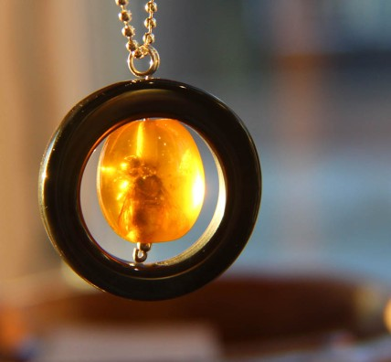 Ancient Bee forever encased in an Amber Bead Pendant