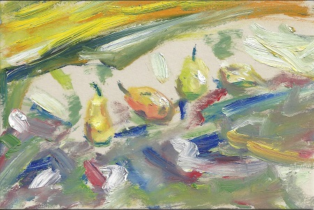 Abstract Pears, James P. Morris, Paint On Rag Mat, Postcard #96, $TBD