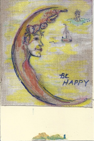 Be Happy, Diane Pantenello, Paint on Linen & Rag Mat, Postcard #67, $TBD