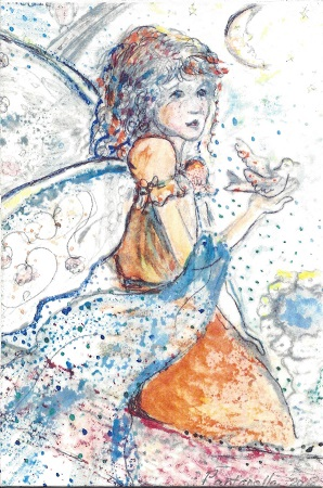 Blue Angle, Diane Pantanello, Watercolor On Rag, Postcard #35, $TBD