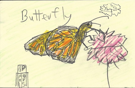 Butterfly, James P. Morris, Graphite, Marker On Rag Mat, Postcard #92, $TBD