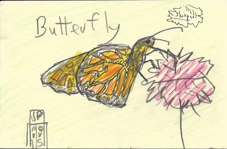 Butterfly, James P. Morris, Graphite, Marker On Rag Mat, Postcard #92, $TBD