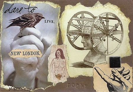 Dare To Live New London, Maurene Kennedy, Collage With Gold Leaf On Rag Mat, Postcard #21, $TBD