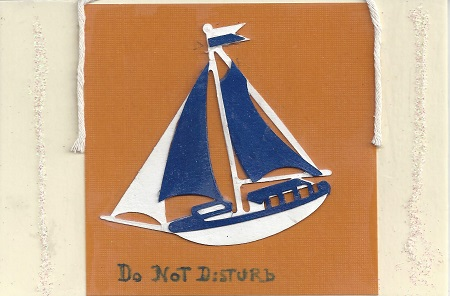 Do Not Disturb, Diane Pantanello,Collage On Rag Mat, Postcard #41, $TBD