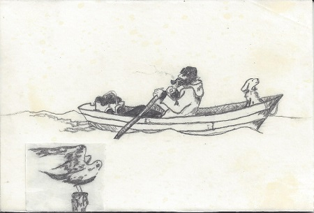 Dory Underway For New London, Maurene Kennedy, Graphite Drawing On Rag Mat, Postcard #121, $TBD
