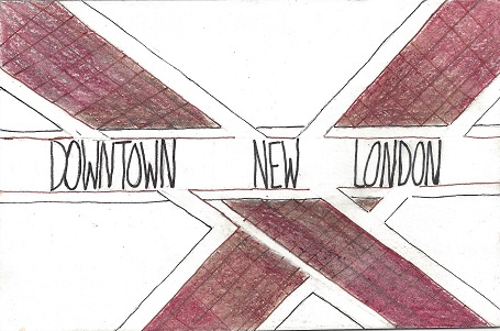 Downtown New London Crosswalks, Jana Flaherity, Ink And Colored Pencil On Rag Mat, Postcard #109, $TBD