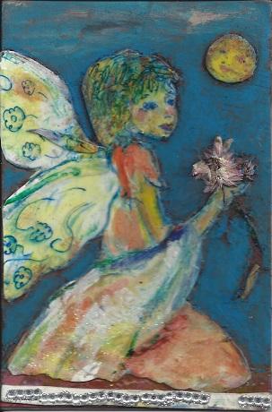 Flower Fairy, Diane Pantenello, Paint on Rag Mat, Postcard #68, $TBD