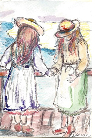 Friends, Diane Pantenello, Watercolor On Rag Mat, Postcard #37, $TBD