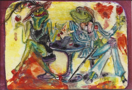 Frog Friends, Watercolor On Rag Mat, Postcard #38, $TBD
