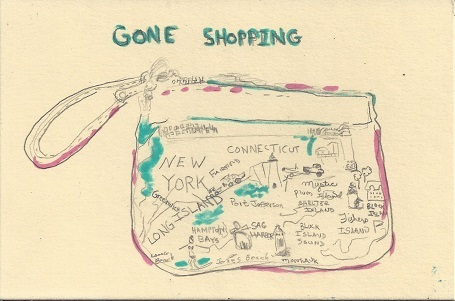 Gone Shopping, Diane Pantenello, Graphite & Ink on Rag Mat, Postcard #70, $TBD