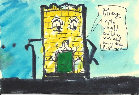 Hey Help An Old Building Out, James P. Morris, Ink On Rag Mat, Postcard #97, $TBD