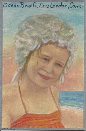 Kathy Jul 1968 ocean Beach New London, Holly Alligood, Acrylic paint on Rag Mat, Postcard #72, $TBD