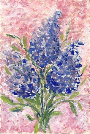 Lilacs, Vivian Stanley, Acrylic On Rag Mat, Postcard #29, $TBD