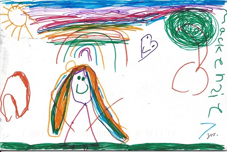 Love New London, Mackenzie -7yrs, Ink On Rag Mat, Postcard #30, $TBD