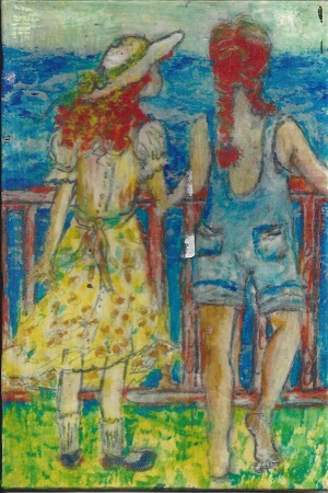 Mother & Daughter, Diane Pantenello, Paint On Rag Mat, Postcard #65, $TBD