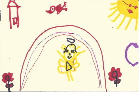 New London Angel, Hailey M. Champagne, Age 7, Marker on Rag Mat, Postcard #56, $TBD