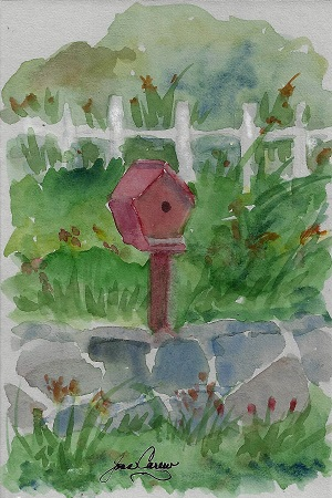 New London Birdhouse, Joan Carew, Watercolor on Rag mat, Postcard #77, $TBD