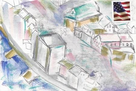 New London City Street Scene, Unknown Artist, Paint on Rag Mat, Postcard #90, $TBD
