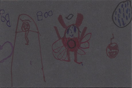 New London Devil, Hailey M. Champagne, Age 7, Marker on Rag Mat, Postcard #57, $TBD