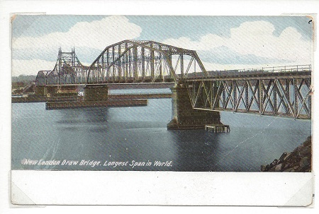 New London Draw Bridge Longest Span In World, Lisa Argilagos, Antique New London Post Card Mounted with Archival Corners on Rag Mat, Postcard #83, $TBD