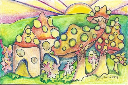 New London Fairy Houses, Gretchen van der Lyke, Colored Pencil, Postcard #93, $TBD