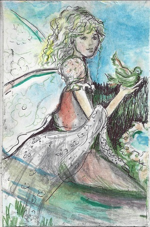 New London Fairy With Bird, Diane Pantanella, Ink On Rag Mat, Postcard #89, $TBD
