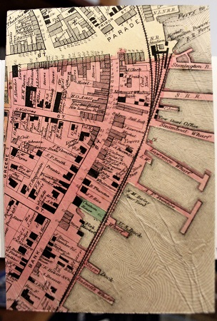 New London Harbor, Maurene Kennedy, Antique Map of New London Harbor on Rag Mat, Postcard #123, $TBD - Copy