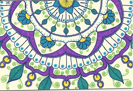New London Mandala, Holly, Ink On Rag Mat, Postcard #33, $TBD