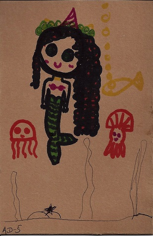 New London Mermaid, AD -5 yrs, Ink On Rag Mat, Postcard #31, $TBD
