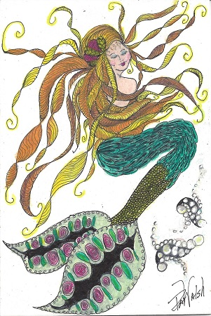 New London Mermaid, Pat Walsh, Ink On Rag Mat, Postcard #111, $TBD