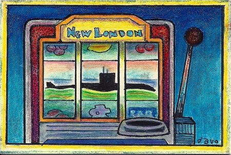 New London Slot Machine, Davo, Acrylic and Glitter On Rag Mat, Postcard #25, $TBD
