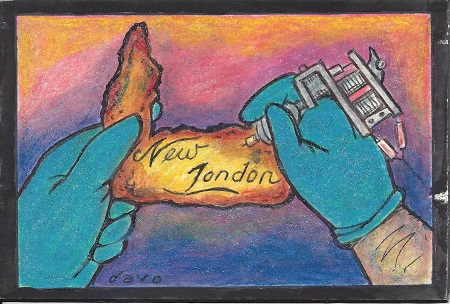 New London Tattoo, Davo, Acrylic & Glitter On Rag Mat, Postcard #25, $TBD