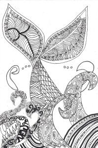 New London Whale Tail Zentangle, Jana Flaherity, Ink On Rag Mat, Postcard #108, $TBD
