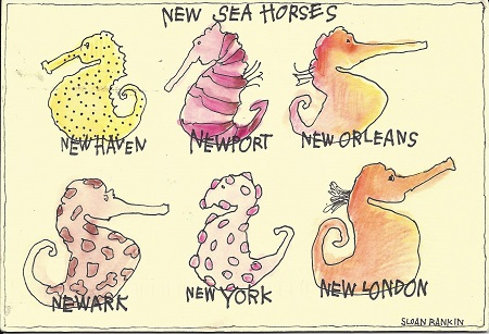 New Sea Horses, Sloan Rankin, Watercolor, Ink, On Rag Mat, Postcard #23, $TBD