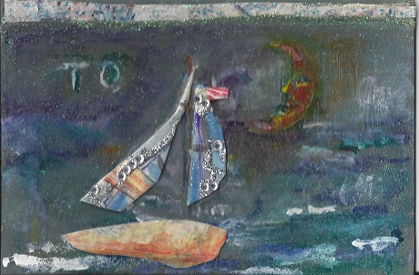 Night Sail in New London, Diane Pantanello, Mixed Media on Rag Mat, Postcard #53, $TBD