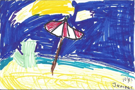 Ocean Beach, Janine C., Age 10 yrs, Ink on Rag Mat, Postcard #45, $TBD