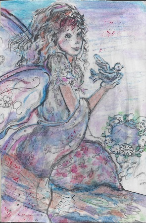 Pink Angel, Diane Pantanello, Watercolor On Rag Mat, Postcard #36, $TBD