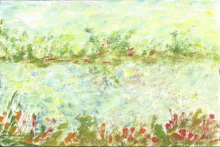 Landscape, Jacqueline M. Carlson, Acrylic On Rag Mat, Postcard#11, $TBD