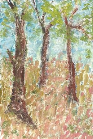 Landscape, Jacqueline M. Carlson, Acrylic On Rag Mat, Postcard #12, $TBD