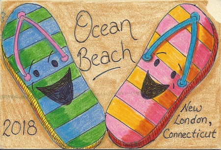 Ocean Beach New London, CT 2018, Robert J. Bolduc, Colored Pencil on Rag Mat, Postcard 17, $TBD