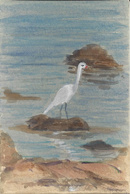 Egret, Joan Carew, Watercolor On Rag Mat, Postcard #18, $TBD