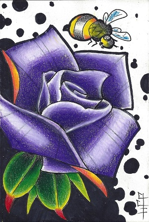 Purple Rose With Bee, J.J.H. of New London Ink, Ink and Colored Pencil On Rag Mat, Postcard#3, $TBD