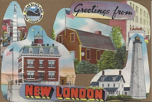 Greetings From New London, Jim Saaverda Diaz of New London Landmarks, Collage On Rag Mat, Postcard #7, $TBD