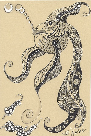 Zentangle Fish, Pat Walsh, Ink On Rag Mat, Postcard #8, $TBD