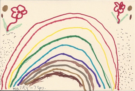 Rainbow Over New London, Hailey Champagne, Age 7yrs, Ink on Rag Mat, Postcard #43, $TBD
