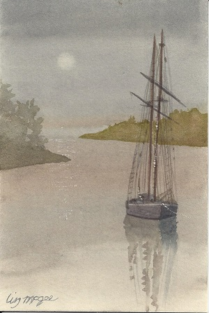 Sailboat, Liz McGee, Watercolor on Rag Mat, Postcard #79, $TBD