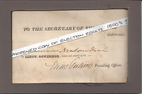 Sealed Lieut. Governor Election Results 1800, Signed Perkins, Clark van der Lyke, Antique Ephemera on Rag Mat, Postcard #55, $TBD