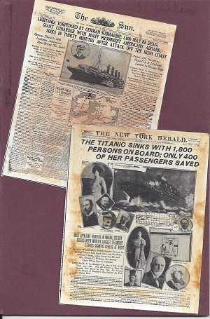 Titanic and Lusitania, Clark van der Lyke, Collage on Rag Mat, Postcard #58, $TBD