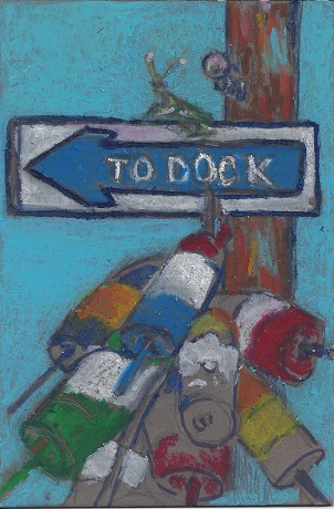 To Dock, Diane Pantenello, Paint on Rag Mat, Postcard #69, $TBD