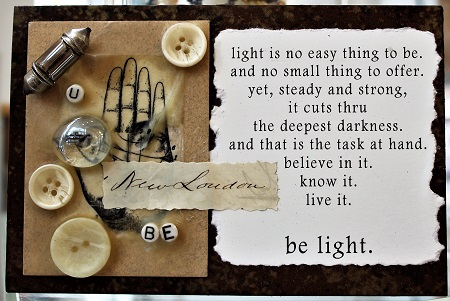 U Be Light New London, Maurene Kennedy, Assemblage, Postcard #81, $TBD